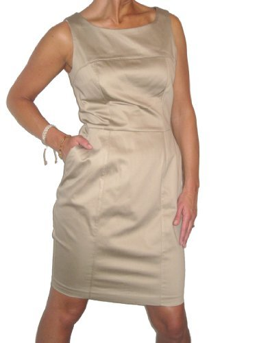 (3944) smart tailored karen cotton sateen dress beige gold 8-18