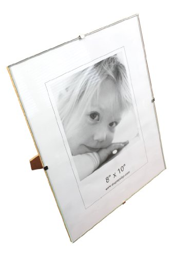 8 x 10 x 1/4-Inch, Tempered Glass Frameless Clip Picture Frame For 8 x 10-Inch Prints, Tabletop Or Wall-Mounted - Sold In Sets Of 6