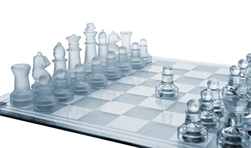 """Glass Chess Set, 3 Sizes (7.5""""/10""""/14"""") - Elegant Design- Durable Build- Fully Functional - 32 Frosted & Clear Pieces - Felted Bott…"""