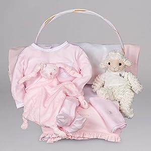 Canastilla de bebé Serenity Esencial de BebeDeParis-Rosa- cesta regalo para recién nacido marca BebeDeParis