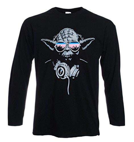 t-shirt manica lunga nera dj yoda star wars humor nerd divertente S M L XL XXL uomo donna bambino maglietta by tshirteria