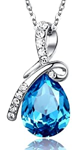 "Eternal Love Teardrop Austrian Crystal Pendant Necklace 18"" (Ocean Blue) 8080"