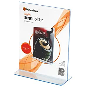 "OfficeMax Acrylic Stand-Up Sign Holder, 8-1/2"" x 11"""
