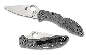 Spyderco Delica4 Lightweight FRN Flat Ground PlainEdge Knife (Gray)