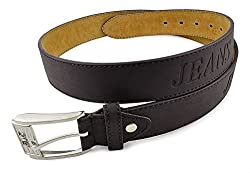 Moda Di Raza - Men's 'Jeans' Motif Leather Belt- Brown/S