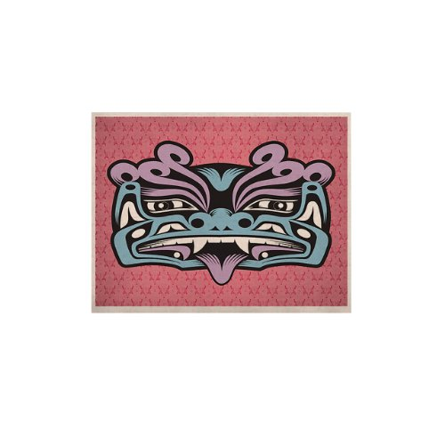 Kess Inhouse Blue Fu Dog Naturals Canvas By Louie Gong, 16 By 20-Inch