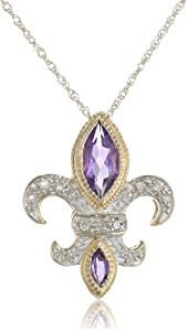 XPY 14k Yellow Gold Amethyst and Diamond-Accent Fleur-de-Lis Pendant, 18""