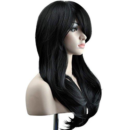 """Ambielly Wig 28""""/70 centimetri lunga parrucca riccia Capelli mossi Womens Cosplay (Nero)"""