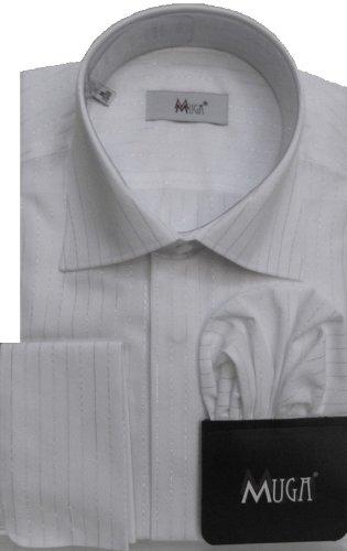 MUGA mens French-Cuff Dress shirt with silver striped, White, Size 4XL