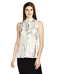 IDK Women's Body Blouse Shirt (KW53-T-494_Shimmer_X-Small)