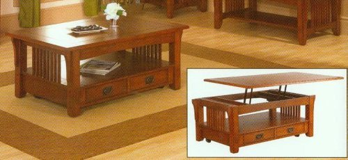 Mission Mission Style Lift Top Coffee Table Set In Medium Oak