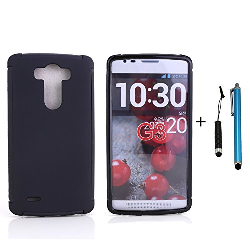 Cellular360 Slim Protective Case With Built-In Screen Protector And One Headphone Jack Stylus And One Stylus Pen For Lg G3 With Sprint, At&T , T-Mobile (Slim Case - All Black)