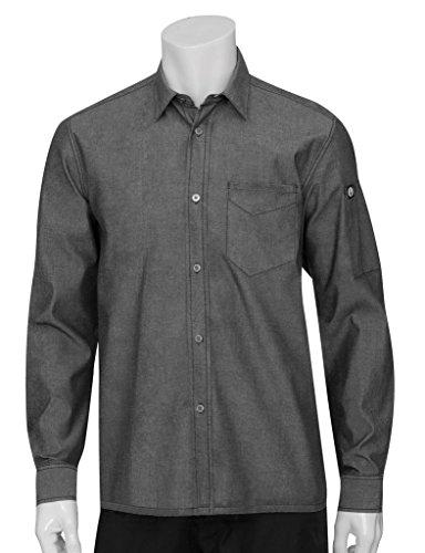 Chef Works SKL001-BLK-M Detroit Long-Sleeve Denim Shirt, Black (Chefs Work Shirt compare prices)
