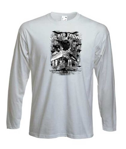 da-uomo-manica-lunga-stampato-t-camicia-us-airforce-bianco-x-large