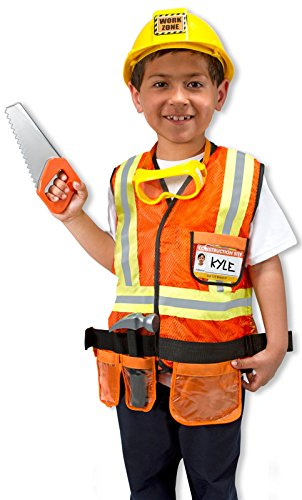 Melissa & Doug Children's Construction Worker Role Play Costume Set Costumes,Construction Worker
