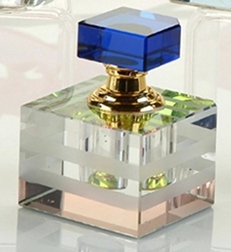 Clear K9 Crystal Cube Perfume Bottle with Blue Cap Fragrance Decanter