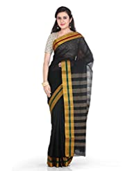Rani Saahiba Black Cotton Plain Saree