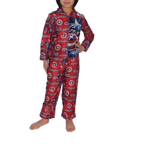 2 PCS SET: Boys Or Girls Captain America Fleece Sleepwear Pajama Top & Pants Set