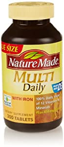 Nature Made Multi Daily Vitamin With Iron and Calcium, 300 Count
