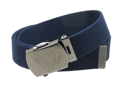 "Canvas Web Belt Military Style Antique Silver Buckle/Tip Solid Color 50"" Long (Navy)"