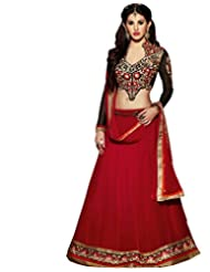 The Fashion World Red Georgette Santoon And Chiffon Embroidered And Lace Worked Semi Stitched Salwar Suit