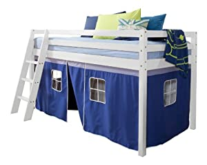 Cabin Bed Mid Sleeper Pine with Tent and Mattress Blue 5758WG-BLUE+ MATTRESS
