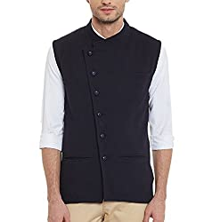 Hypernation Navy Blue Side Button Cotton Waistcoat For Men