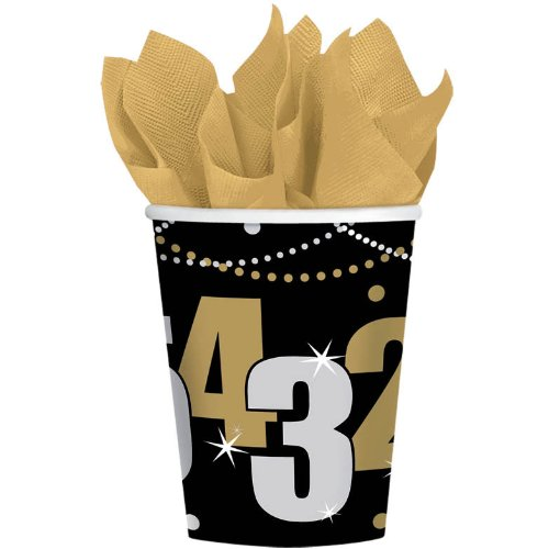 New Year's Wild Countdown 9 oz. Paper Cups (8 count) Party Accessory - 1