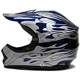 TMS® Youth Blue Flame Dirt Bike Motocross Helmet Atv Mx (Small)