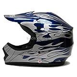 Tms Youth Blue Flame Dirt Bike Motocross Helmet Atv Mx (Small)