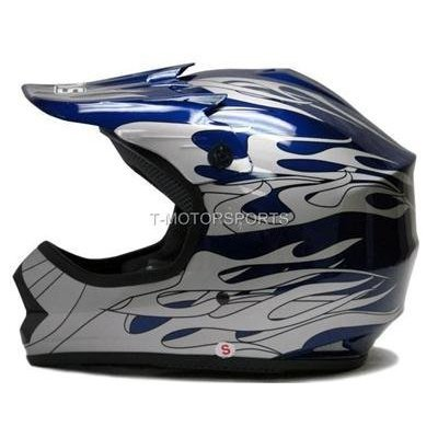 Tms Youth Blue Flame Dirt Bike Motocross Helmet
