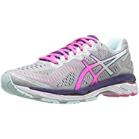 ASICS Mens or Womens Gel-Kayano 23 Running Shoes (Silver/Pink/Purple)