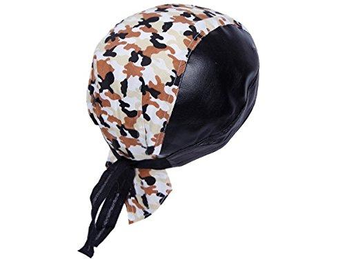 Bandana in finta pelle preformato con laccetti, rocker biker motociclista motorcycle pirata cap cappellino ZA-96