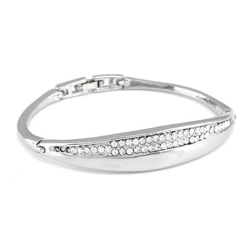 Perfect Gift - High Quality Enchanting Bangle with Silver Swarovski Crystal (3295) for Birthday Anniversary Free Standard Shipment Clearance