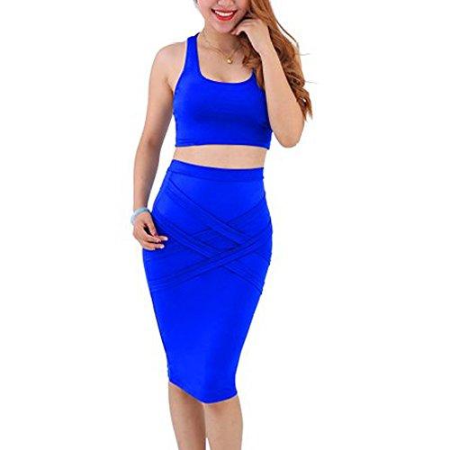 NONO Women Sleeveless Sexy 2 Pieces Bodycon Bandage Evening Dress Blue Xx-large