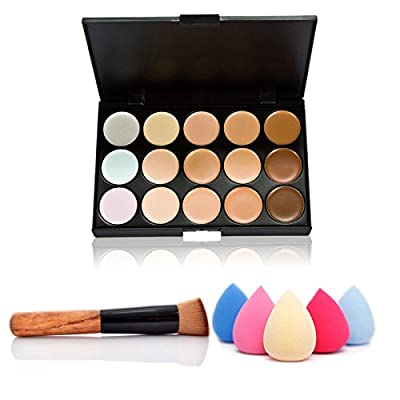 ACE Fashion Women Professional 15 Color Makeup Cosmetic Contour Concealer Palette Make Up+Sponge+Concealer Brush