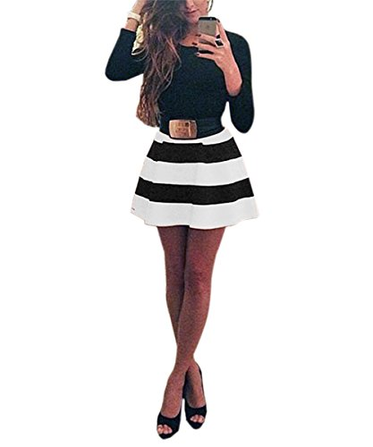 Mini Dress - ISASSY Women Sexy Bandage Bodycon Long Sleeve Party Evening Cocktail CELEBRITY Short Mini Dress Black and white Color Size M UK10