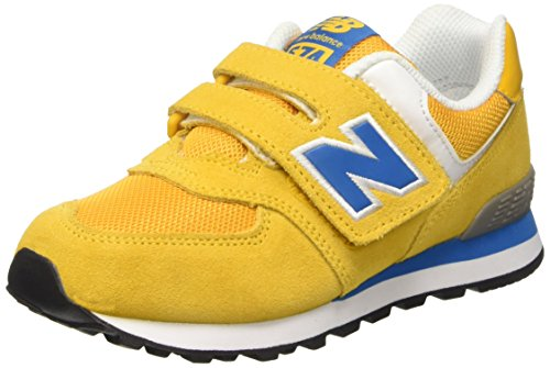 New Balance NBKG574YNP Scarpe per Bambini, Yellow/Blue Suede/Mesh, 32