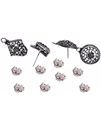 Silvesto India 2 Pcs Round And 2 Pcs Kite Shape Stud Earrings With 8 Push Jewelry Accessories PG-19903