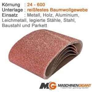 3 Gewebe Schleifbänder für Metall, Holz, Lack 150 x 2510 mm Korn 100, Made in Germany