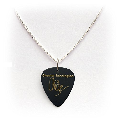 Linkin park chester bennington signature guitar pick plectrum black linkin park chester bennington signature guitar pick plectrum black gold 1curb chain necklace 24 aloadofball Image collections