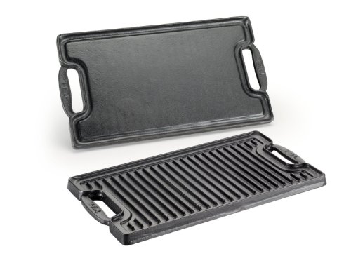 T-fal E62797 Cast Iron Double Burner 20-Inch X 10-Inch Grill Griddle Cookware, 20-Inch, Black