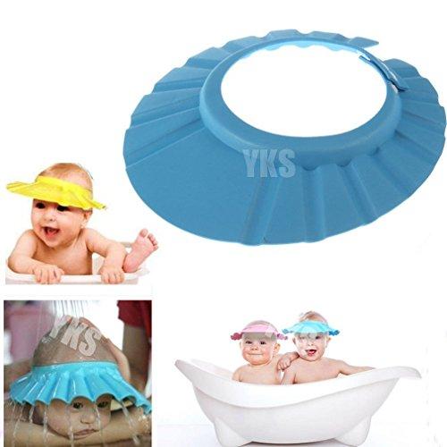 Onegood 1 Pcs Adjustable Soft Baby Kids Child Children Shampoo Bath Shower Wash Hair Waterproof Eye Shield Cap Hat Shield Sun Cap Tub Bathtub Visor For Toddler (Blue)