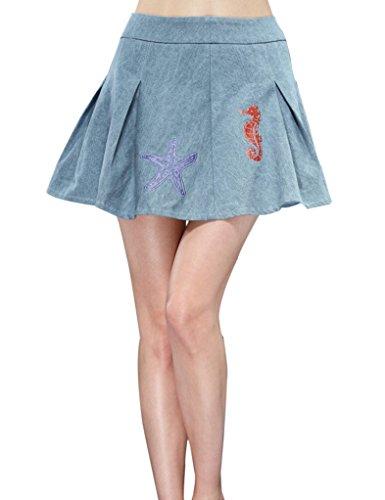 Elf Sack Womens Summer Skirt Embroidery Shell Denim Medium Size Grey