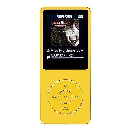 """AGPTek A02 IL lettore MP3 8 GB schermo 1,8"""" con Radio e registratore, Il tempo di riproduzione è fino a 70 ore,Giallo"""