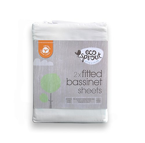 Certified 100% ORGANIC Cradle / Bassinet Sheet Fitted - White 375 Thread Count - set of 2 - by Ecosprout