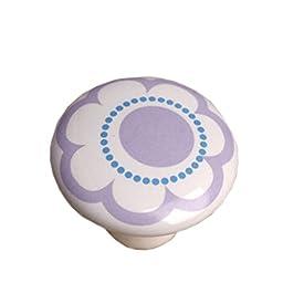 Set of 3 [Purple Flower]Ceramic Kids/Adult Drawer/Cabinet Handles/Pulls(1.51\'\')