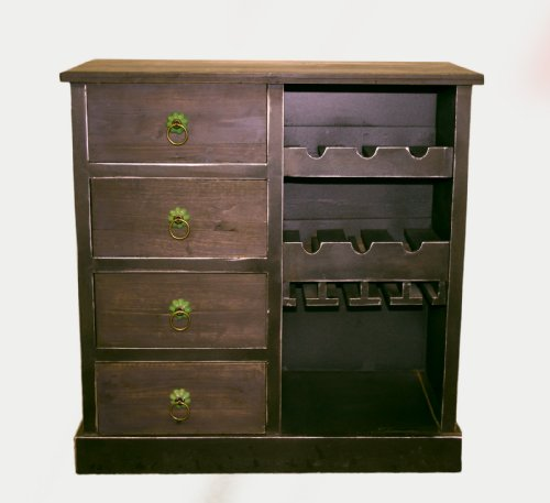 Antique Looking Handmade Wood Wine Bar Cabinet - 4 Drawers, Wine Glass Storage, 6 Wine Bottle Storage