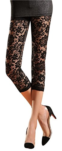 Womens Stretchy Floral Lace Capri Leggings Tights (US: 4/6,