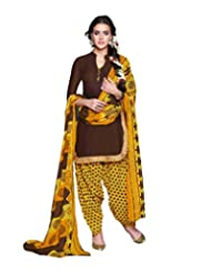 Desi Look Women's Brown Cotton Dress Material With Dupatta